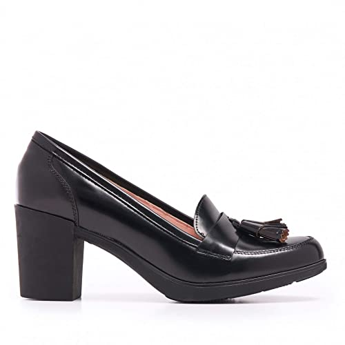 Castellanísimos Mocasines de Mujer con Tacón en Piel Florentic Negro: Amazon.es: Zapatos y complementos