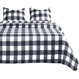 Wake In Cloud - Plaid Quilt Set, Buffalo Check Gingham Geometric Checker Pattern Printed in Black White Gray Grey, Soft Micro
