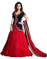 S R Fashion Women's Velvet Lehenga Choli (SRF_DM_1821_Lehenga Choli, Red)