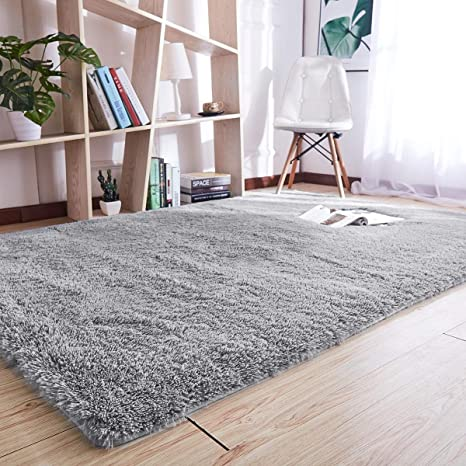 Amazon.com: Noahas Super Soft Modern Shag Gray Area Rugs Fluffy Living Room  Carpet Comfy Bedroom Home Decorate Floor Kids Playing Mat 4 Feet By 5.3  Feet ...