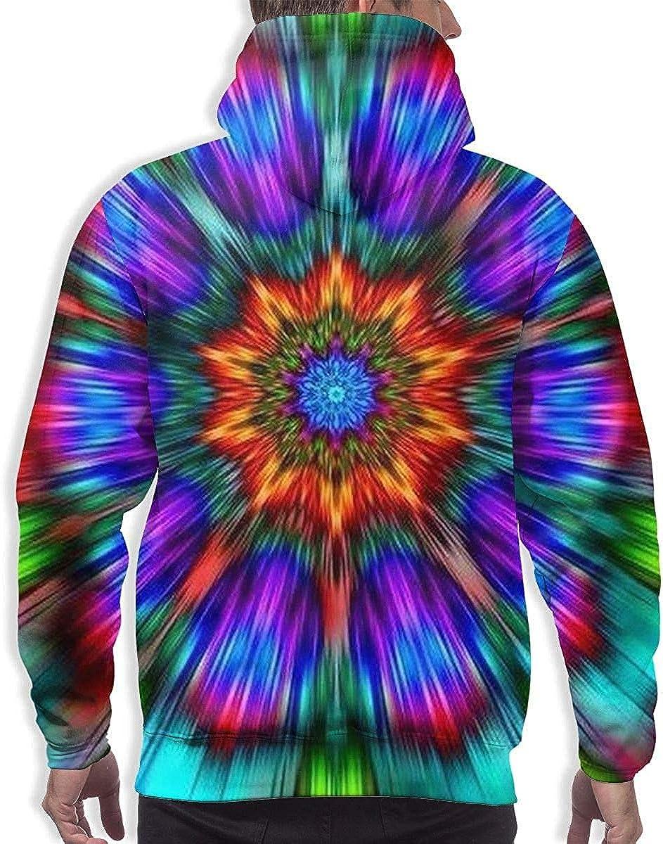 Mens Drawstring Hoodie Sweatshirts Fitted Sport Tops Trippy Tie Dye Mandala Colorful S