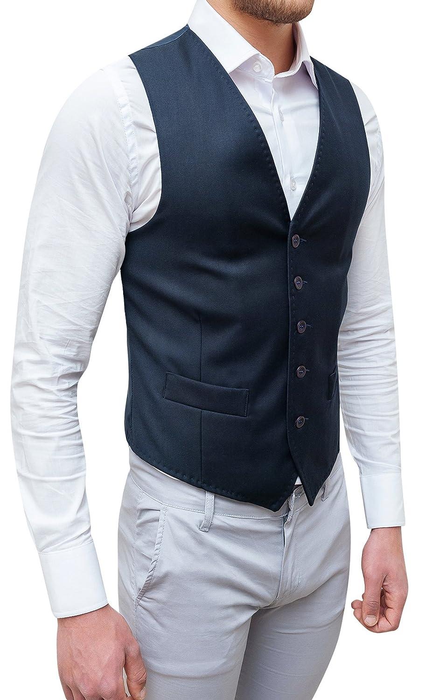 Evoga gilet panciotto uomo sartoriale blu scuro casual elegante slim fit