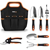 TACKLIFE 6 Piece Stainless Steel Heavy Duty Garden Tools Set, with Non-slip Rubber Grip, Storage Tote Bag, Outdoor Hand…