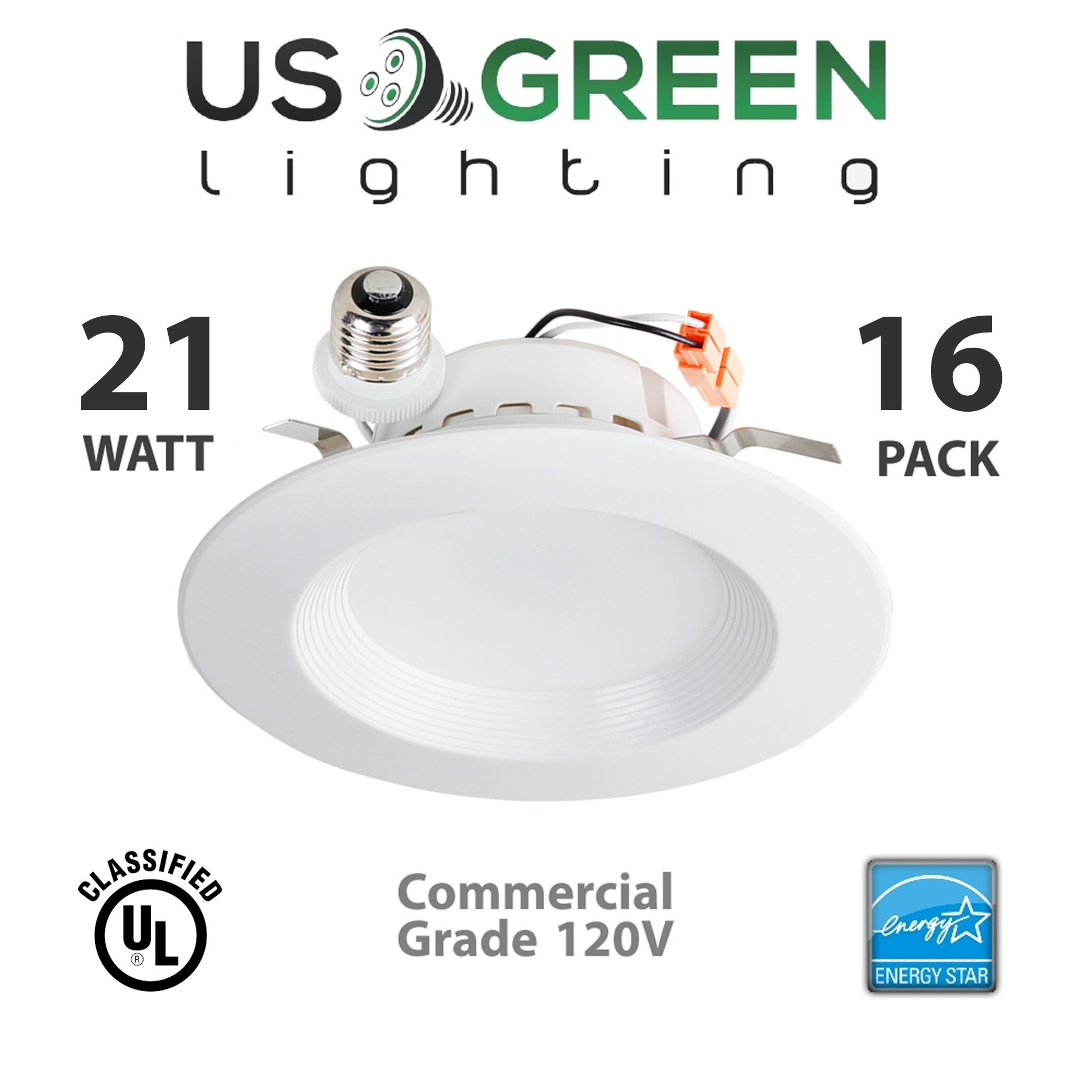 16 Pack 21W LED 3000K (Warm White) 5''/6'' Recessed Can Retrofit Downlight, Dimmable, 1400 Lumen, Energy Star, 90 CRI, 150W replacement, Low Profile