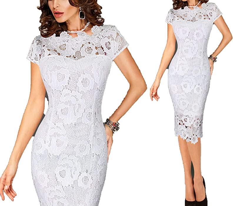 Hollow Out Lace Dress Party Office Elegant Sheath Bodycon Pencil Evening Vestidos 5 Colors,White,XL