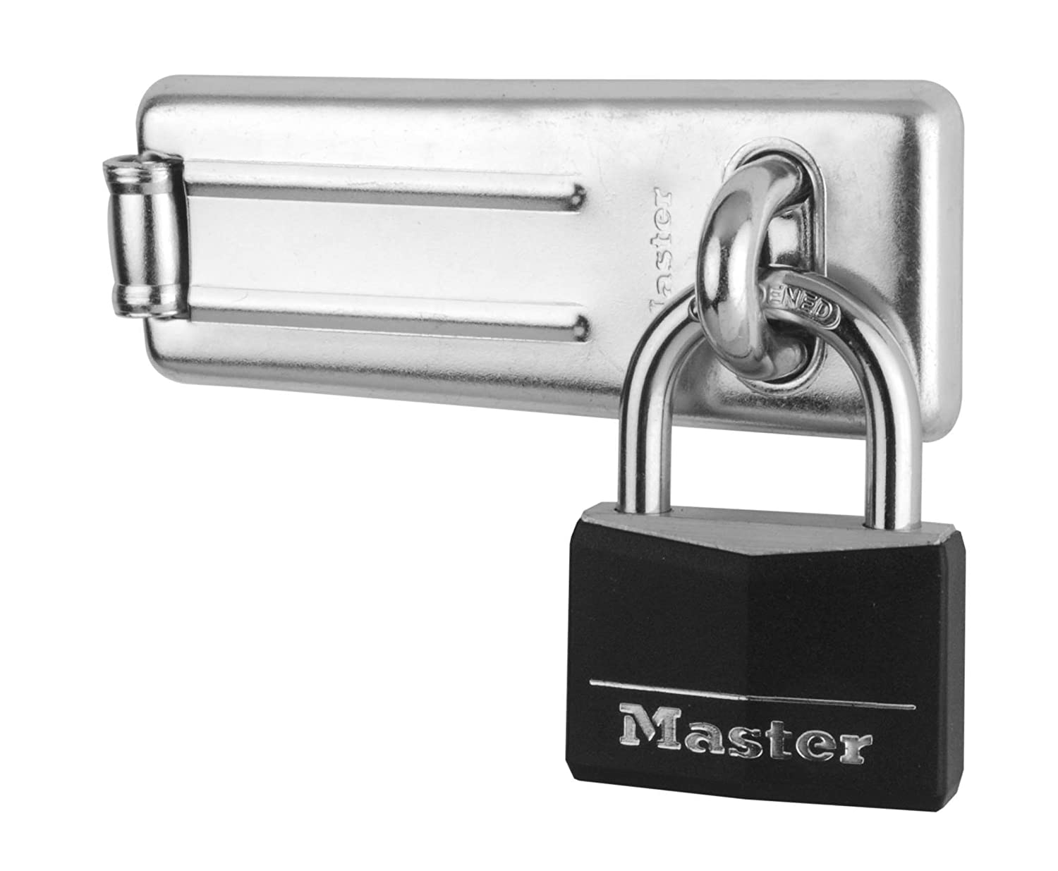 Master Lock Padlock, Aluminum Padlock with Hasp, Key Lock, Best Used as a Gate Lock, Shed Lock, Cabinet Lock and More 9150704EURDBLK