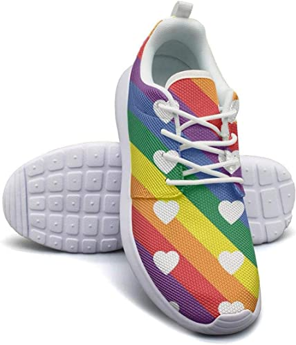 Wear-Resistant Walking Sneaker Gay Pride Rainbow Colored Hearts Woman Funny Athletic Running Shoes