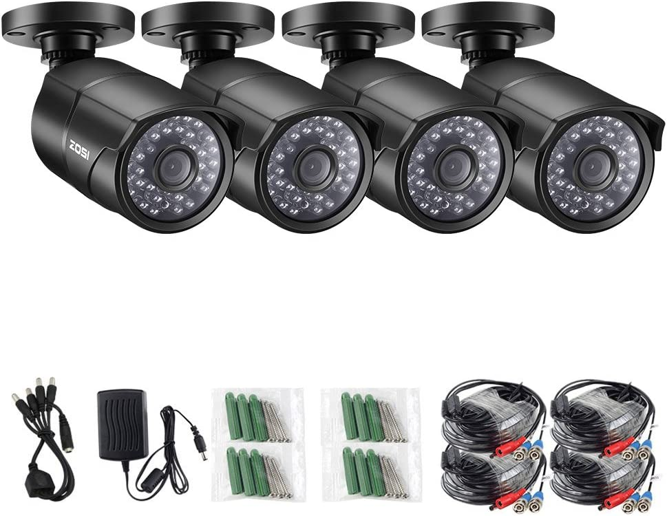 ZOSI 4 Pack 2.0MP HD 1080P 1920TVL Bullet Outdoor/Indoor Security Camera (Hybrid 4-in-1 HD-Cvi/Tvi/Ahd/960H Analog Cvbs), 36Pcs LEDs, 100ft IR Night Vision, Weatherproof Surveillance Camera