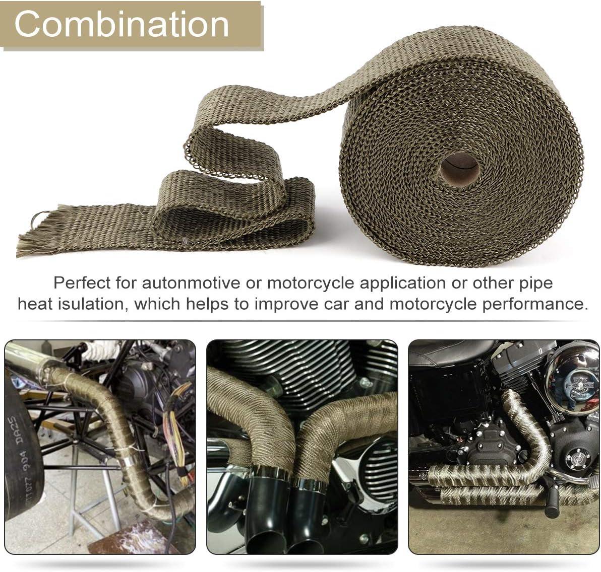 Protezione Calore Nastro con 10 Flange di Fissaggio per Tubi di Scarico per Auto e Moto Nastro Termico Isolante in Fibra di Vetro 10M*5CM
