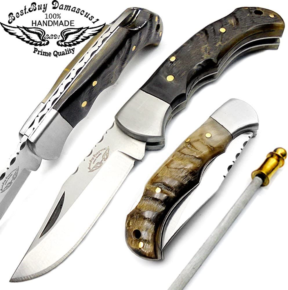 Best.Buy.Damascus1 Ram Horn 6.5 Hand Made Stainless Steel Folding Pocket Knife Sliver Bloster with Sharpening Rod Back Lock 100 Prime Quality Limited Edition