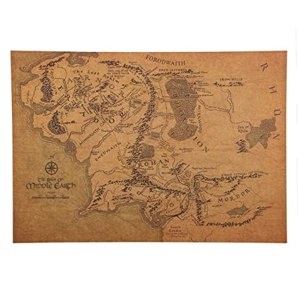 Amazon.com: 1 Pack Vintage Middle Earth Map Wall Stickers Poster