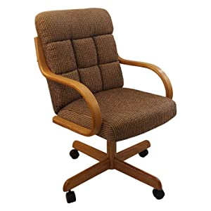 Casual Rolling Caster Dining Chair with Swivel Tilt in Oak Wood with Fabric Seat and Back (1 Chair)