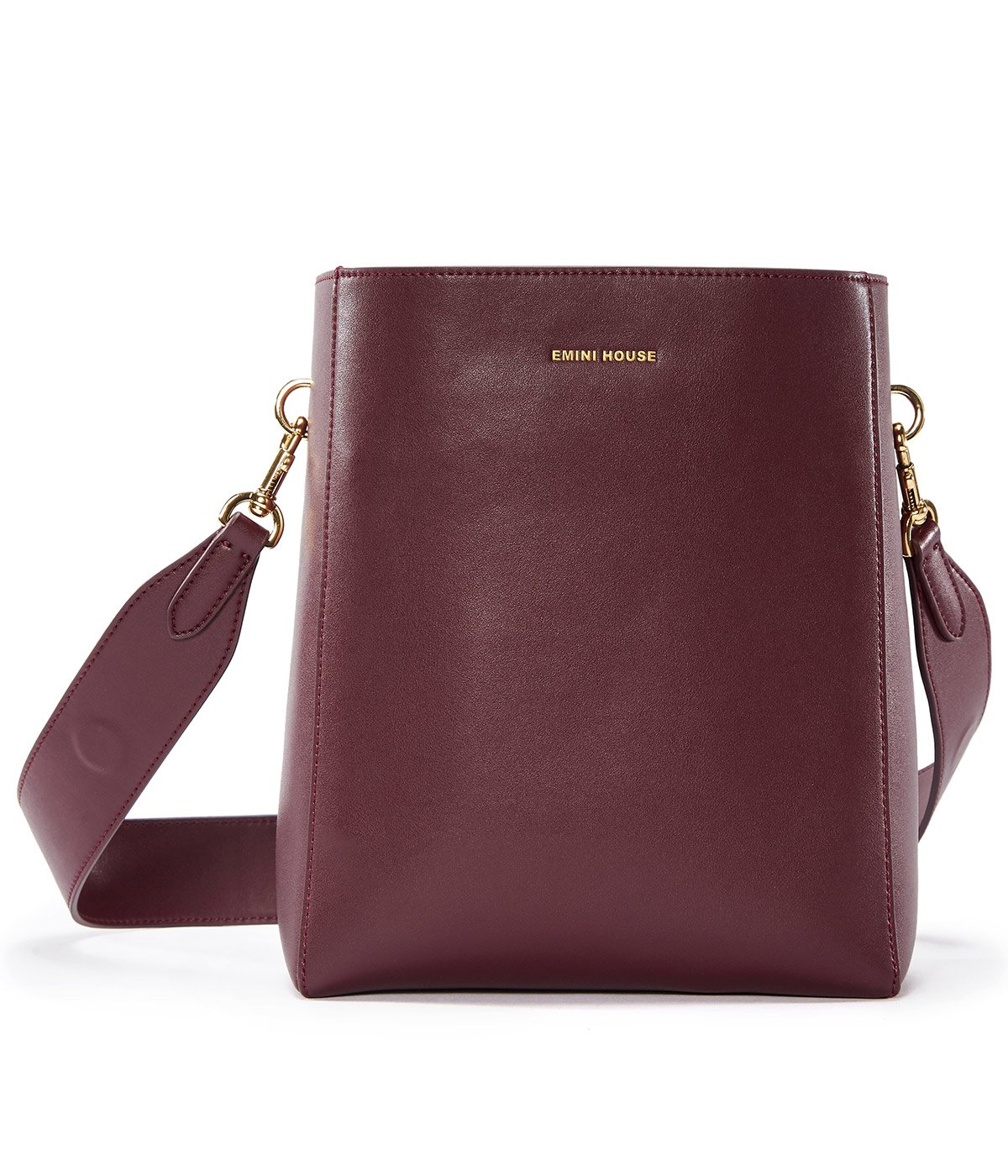 EMINI HOUSE Concise Bucket Bag with Magnetic Snap Women Bag-Wine Red