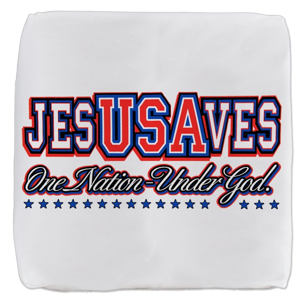 13 Inch 6-Sided Cube Ottoman USA Jesus Saves Nation Under God by Royal Lion