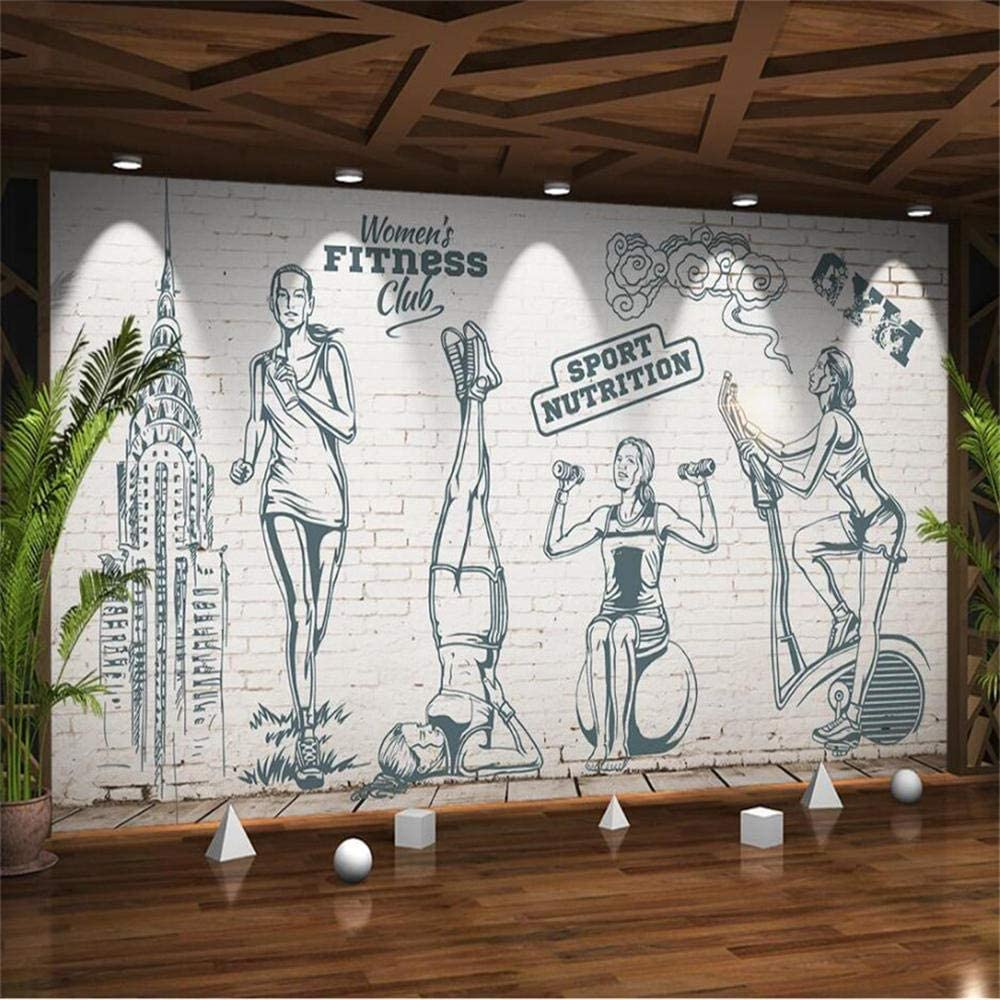 Retro Beauty Girls Fitness Weight Lifting Gym Background Wall Paper 3D Athletic Club Industrial Decor Brick Mural Wallpaper 3D-About200140cm