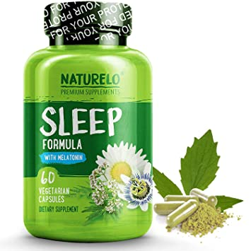 NATURELO Natural Sleep Aid – with Melatonin, Magnesium, GABA, Valerian Root, Lemon