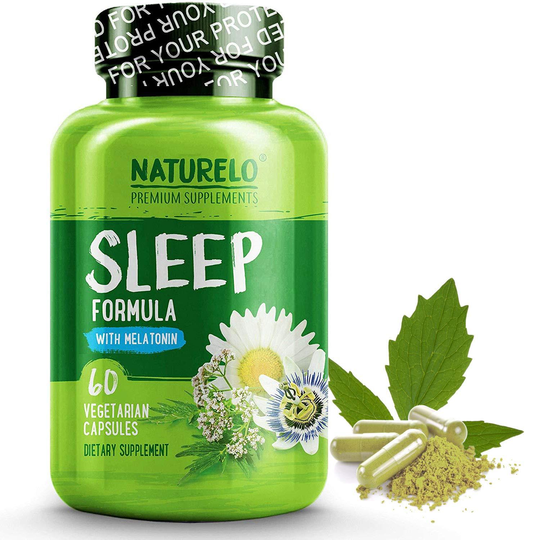 NATURELO Natural Sleep Aid – with Melatonin, Magnesium, GABA, Valerian Root, Lemon Balm, Chamomile Extracts - Best Natural Sleeping Aid - 60 Vegan Capsules