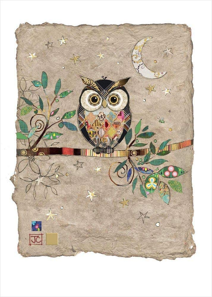 Small Blank Greeting Note Card NEW Adorable Owl Wearing Glasses Flowers Branch