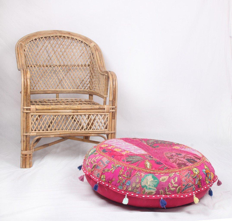 Jaipurtextilehub JTH Vintage Ethnic Indian Bohemian Patchwork Pouf Ottoman Foot Stool (Size: 32X9X32 Inch) Jaipur Textile Hub