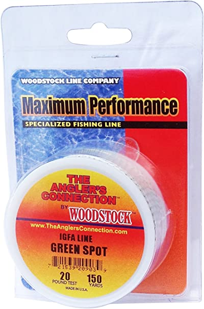 WOODSTOCK BRAIDED DACRON IGFA Fishing Line Green Spot 20lb-500yd FREE USA SHIP!
