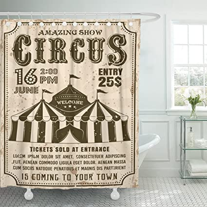 Amazon TOMPOP Shower Curtain Circus In Retro Tent For Show
