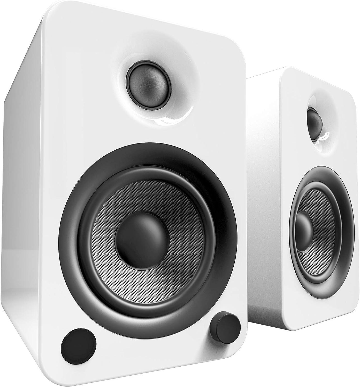 Kanto YU4 140W Powered Bookshelf Speakers with Bluetooth and Phono Preamp | Gloss White | Pair
