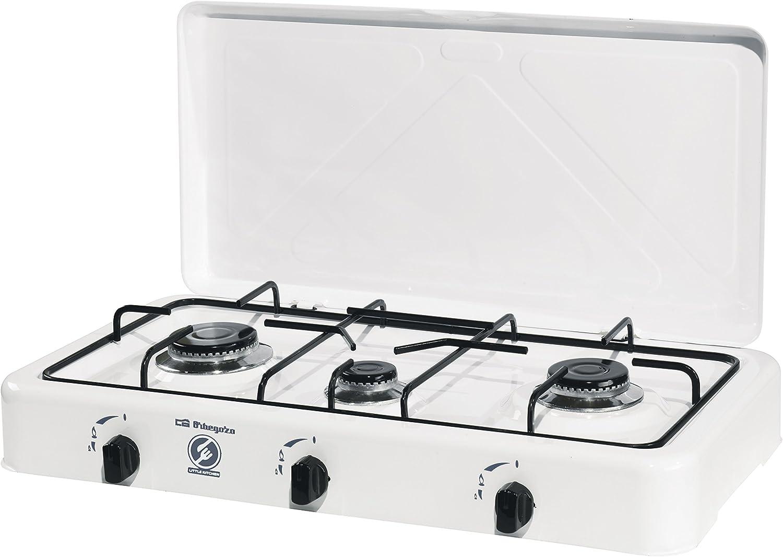 Orbegozo 16426 FO 3450-Hornillo Gas, 3 quemadores, 1400 W, Esmaltado, Color blanco