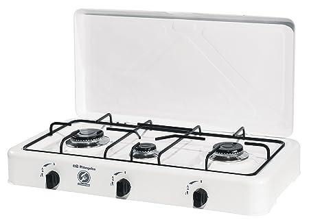 Orbegozo FO 3450 3450-Hornillo Gas, 3 quemadores, 1400 W, Esmaltado, Color blanco
