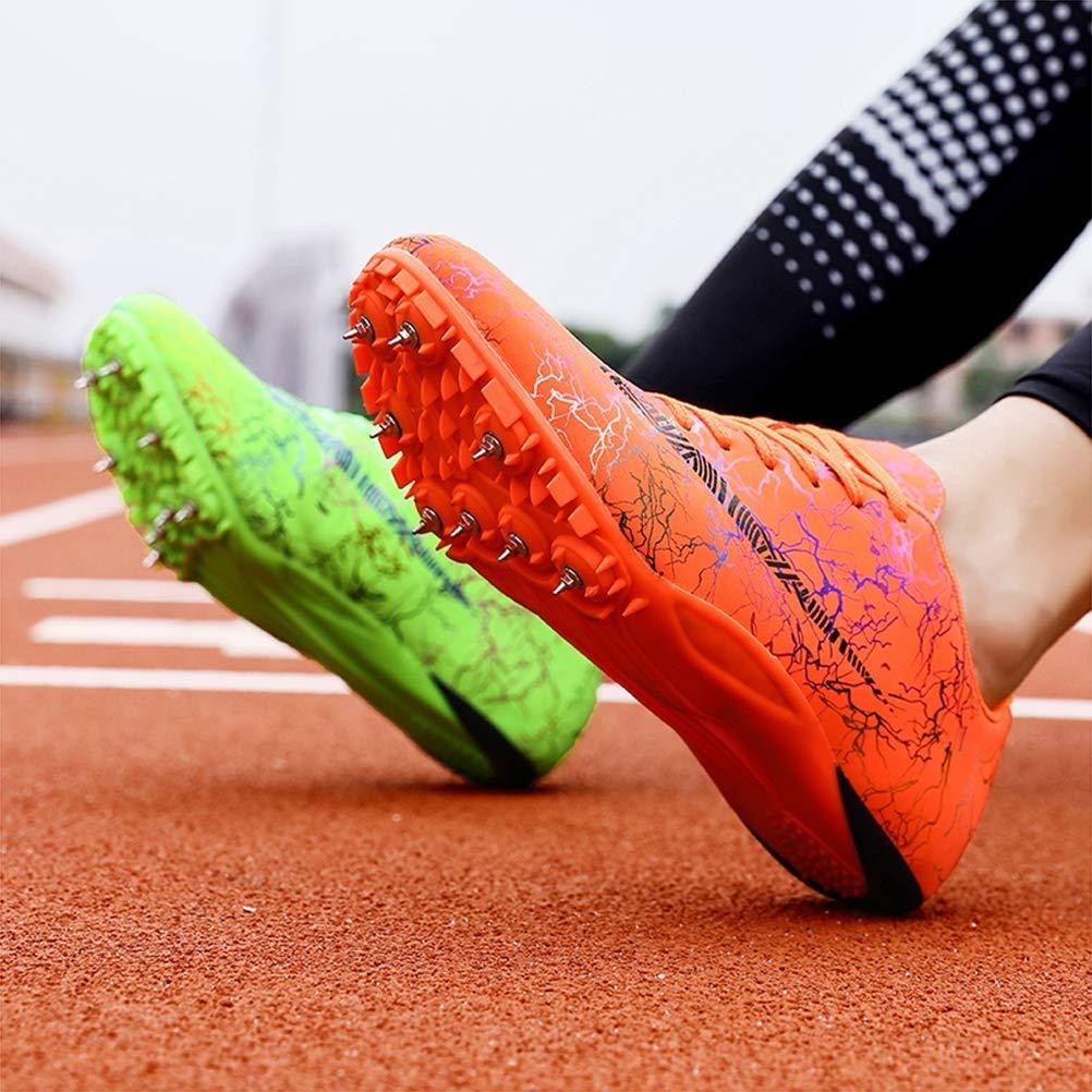 OUCB Los Hombres De Pista Y Campo Zapatos Unisex Correr Espigas De Calzado Transpirable Zapatos Junior Sprint Spikes Salto De Longitud Hijos Adultos Competencia Zapatilla De Deporte,Marr/ón,35