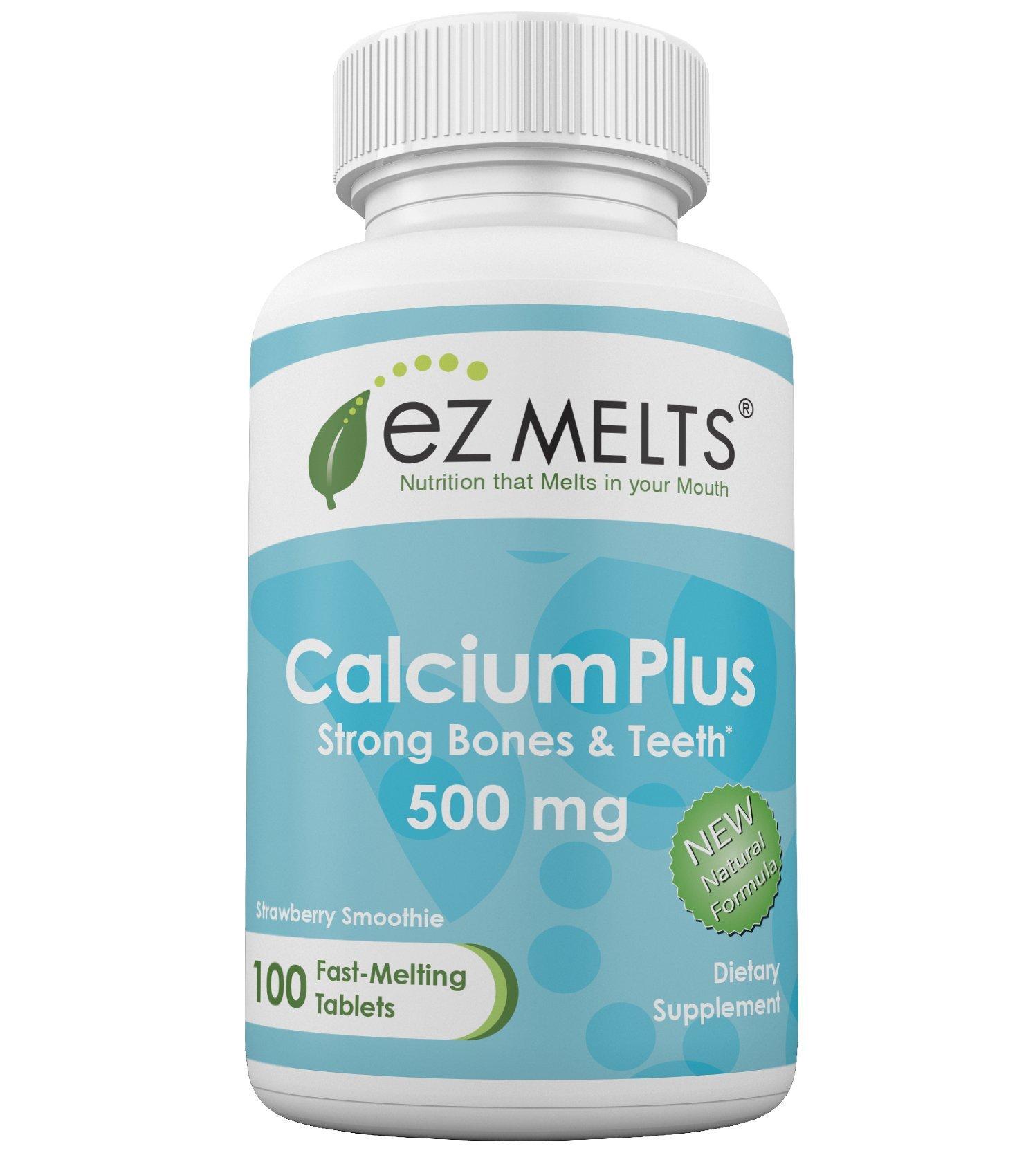 EZ Melts Calcium Plus, 500 mg, Dissolvable Vitamins, Vegetarian, Zero Sugar, Natural Strawberry Flavor, 100 Fast Melting Tablets, Calcium Supplement
