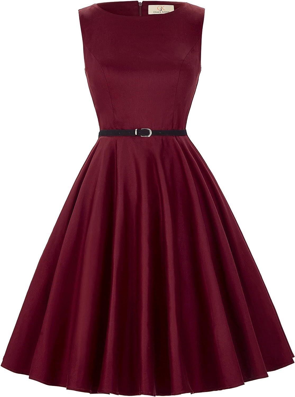GRACE KARIN 1950s Vintage Fancy Party Dress Summer Hepburn A-Line Swing High Tea Cocktail Dress with Belt XS~Plus Size XXL