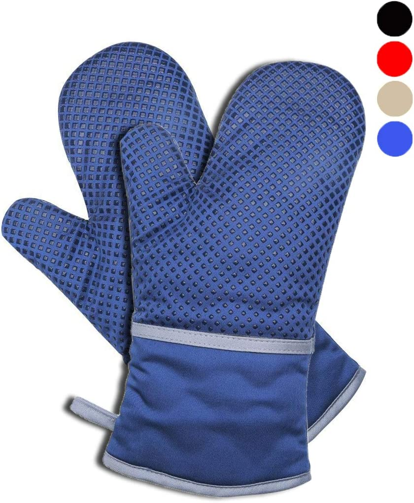 YaoYu Oven Mitt with Soft Cotton Inner Lining- 1 Pair,Extreme Heat Resistant Lattice-Shaped Silica Gel for Antiskid ,Cotton Mitt for Grilling, Baking (Blue)
