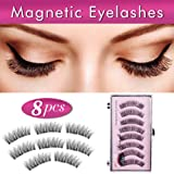 Long Magnetic Eyelashes Double Magnets No Glue Reusable False Magnetic Eyelashes 8 Pieces 3D Ultra Thin Lightweight Fake Eyelashes Easy to Apply Natural Look