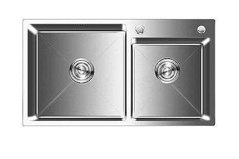 Vasca Da Cucina In Acciaio : Auralum lavelli da cucina in acciaio inox spazzolato vasca doppia