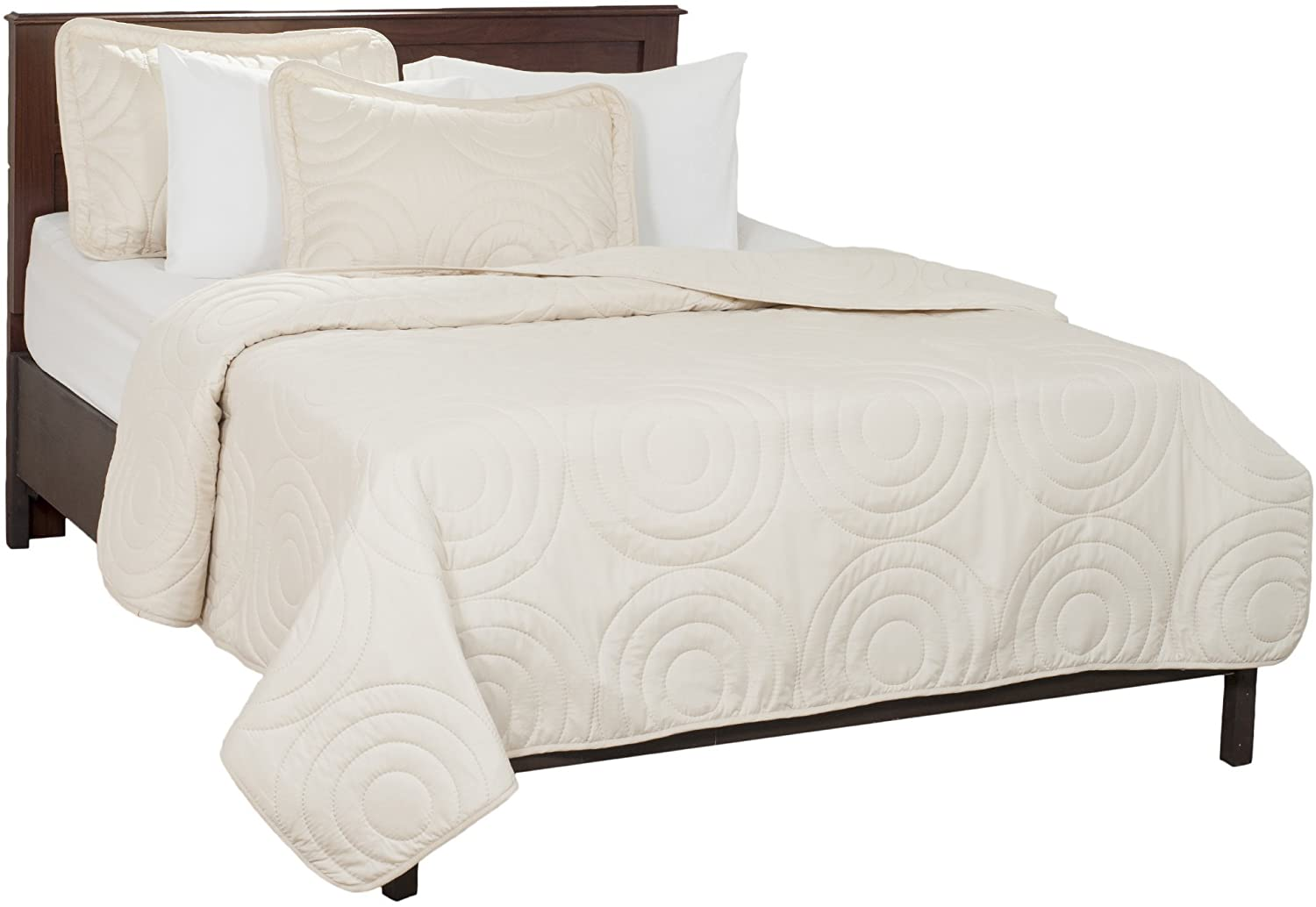 Lavish Home Solid Embossed 3 Piece Quilt Set - Full/Queen - Ivory