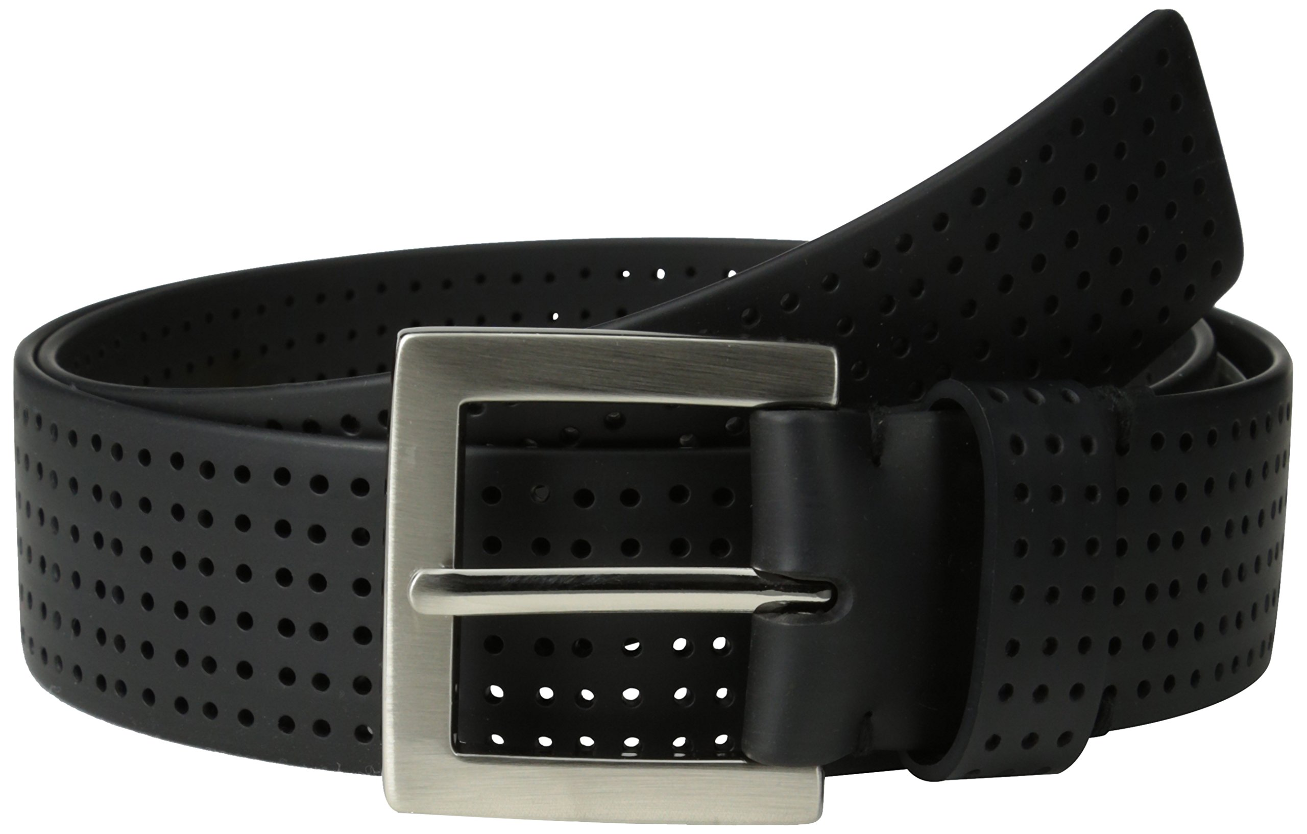 PGA TOUR Men's Perforated Fashion Color Silicone Belt, Black, 34