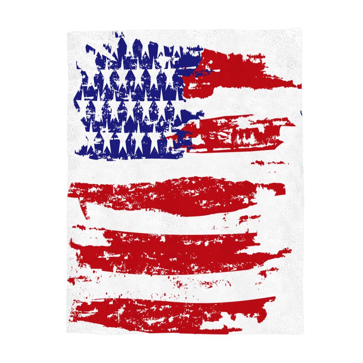Funy Decor フランネルフリーススローブランケット 抽象的なアメリカ国旗プリント 愛国心 ウルトラソフト 暖かい 快適 オールシーズン プレミアムベッドブランケット 子供/女の子/男の子/女の子/大人用 60 x 80 LTL-201812060612FDRSLSZ00560MTADFDR B07L5D88MT  60 x 80