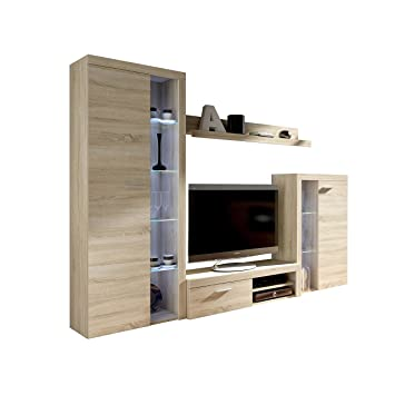 Wohnwand Rango Design Wohnzimmer Set Modernes Anbauwand Schrankwand Vitrine Tv Lowboard Mediawand Ohne Beleuchtung Sonoma Eiche
