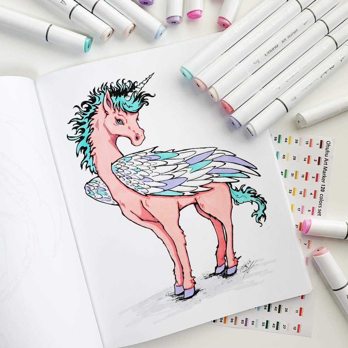 Ohuhu 120 Colors Dual Tips Sketch Marker Pens Art Markers Set with Carrying Case for Drawing Sketching Adult Coloring Books, Great Mothers' Day Gift Idea by Ohuhu (Image #4)