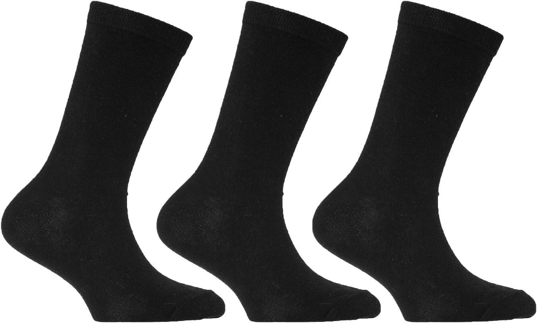 UK Shoe: 6-8.5 Age: 2-4 years Childrens//Kids Plain School Socks with Lycra Black Pack of 3