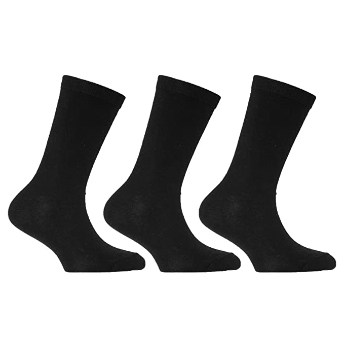 153dd10d17bfa Childrens/Kids Plain School Socks With Lycra (Pack Of 3): Amazon.co.uk:  Clothing