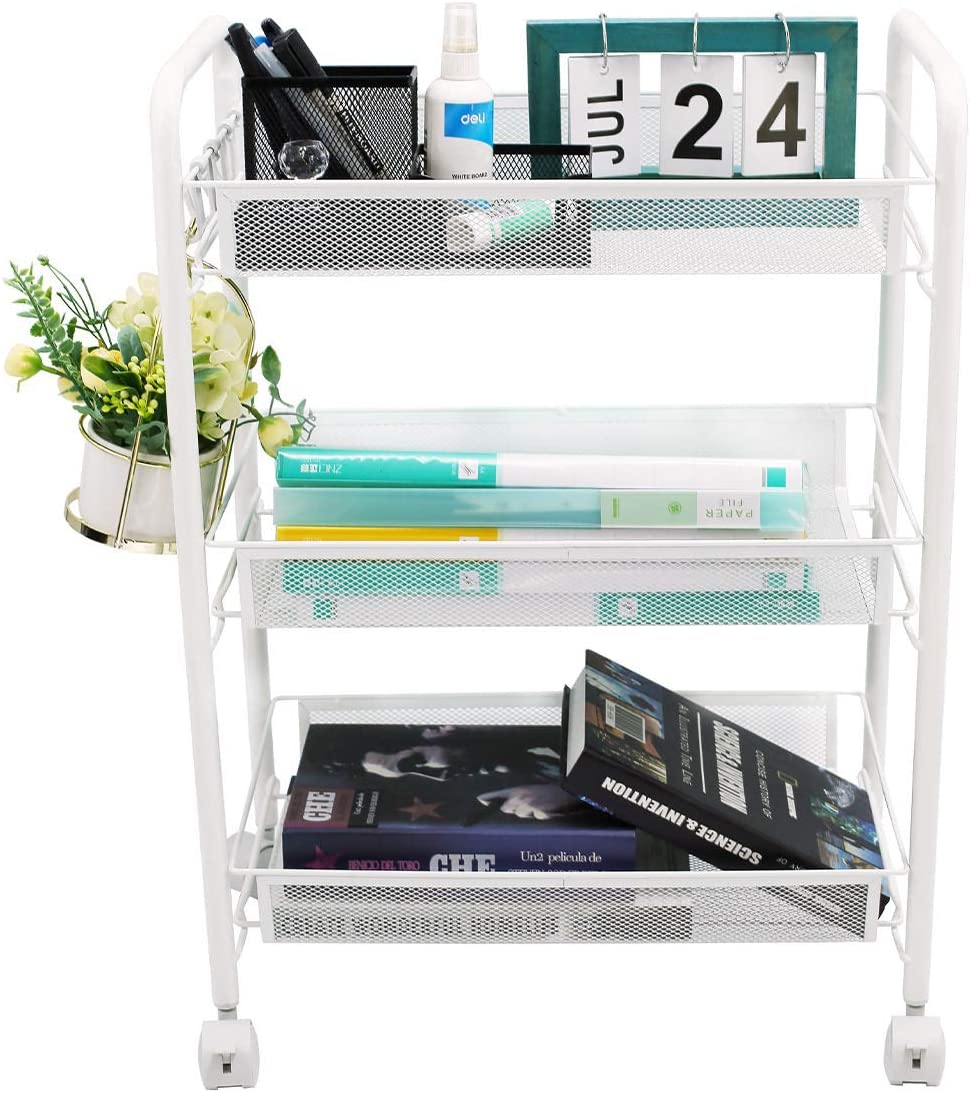 3-Tier Metal Rolling Utility Cart, Mesh Wire Storage Rack Trolley with Wheels, Multifunction Mobile Organizer, White