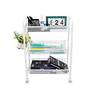 Ovicar Mesh Utility Cart, Rolling Basket Stand for Kitchen & Bathroom, Full Metal Storage Art Trolley Carts with Wheels & 4 Side Hooks (3 Tier, White)