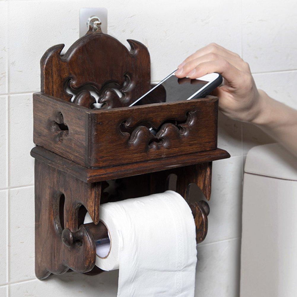 Bad lagerung Wand-absaugung Wc-papierrolle lagerung-A Retro-h/ölzerne toilettenpapierhalter ohne bohren