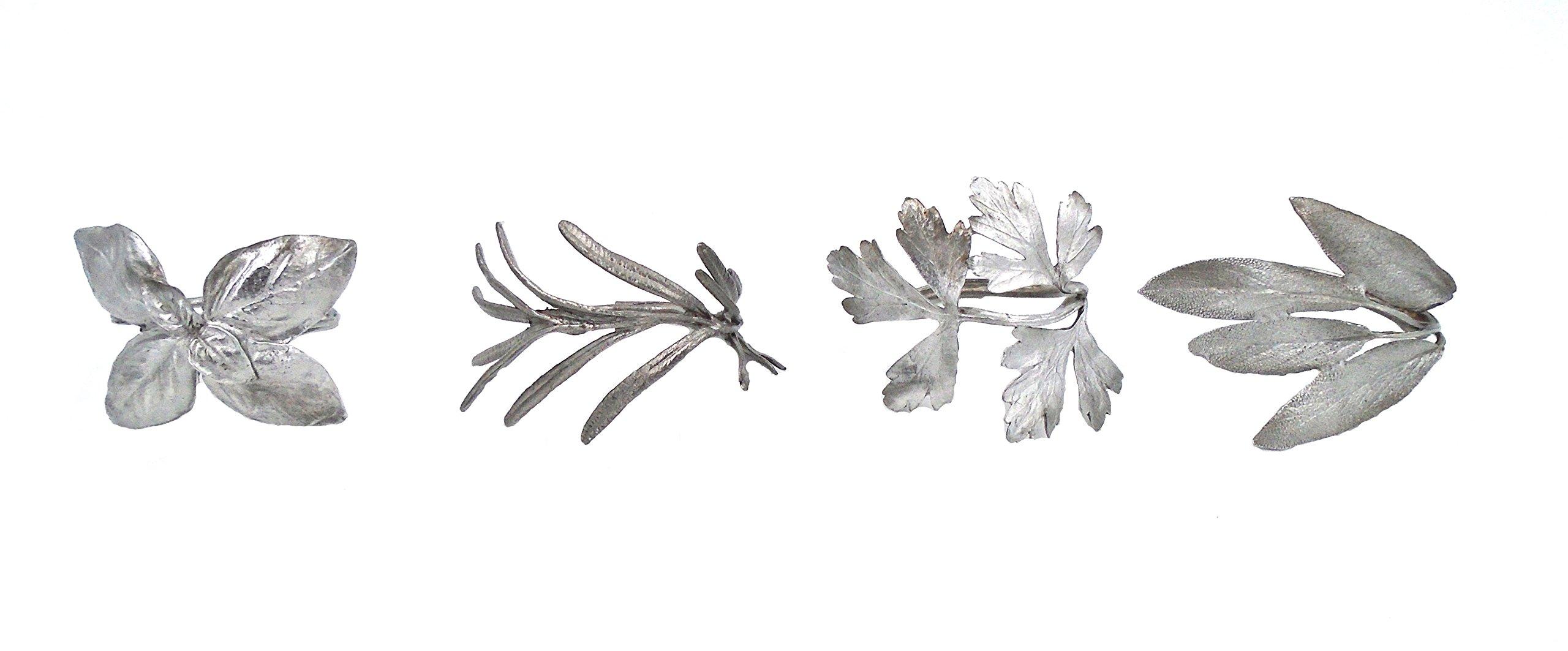 ''Italian Herb Napkin Rings'' (Set of 4) by Michael Michaud for Silver Seasons Table Art