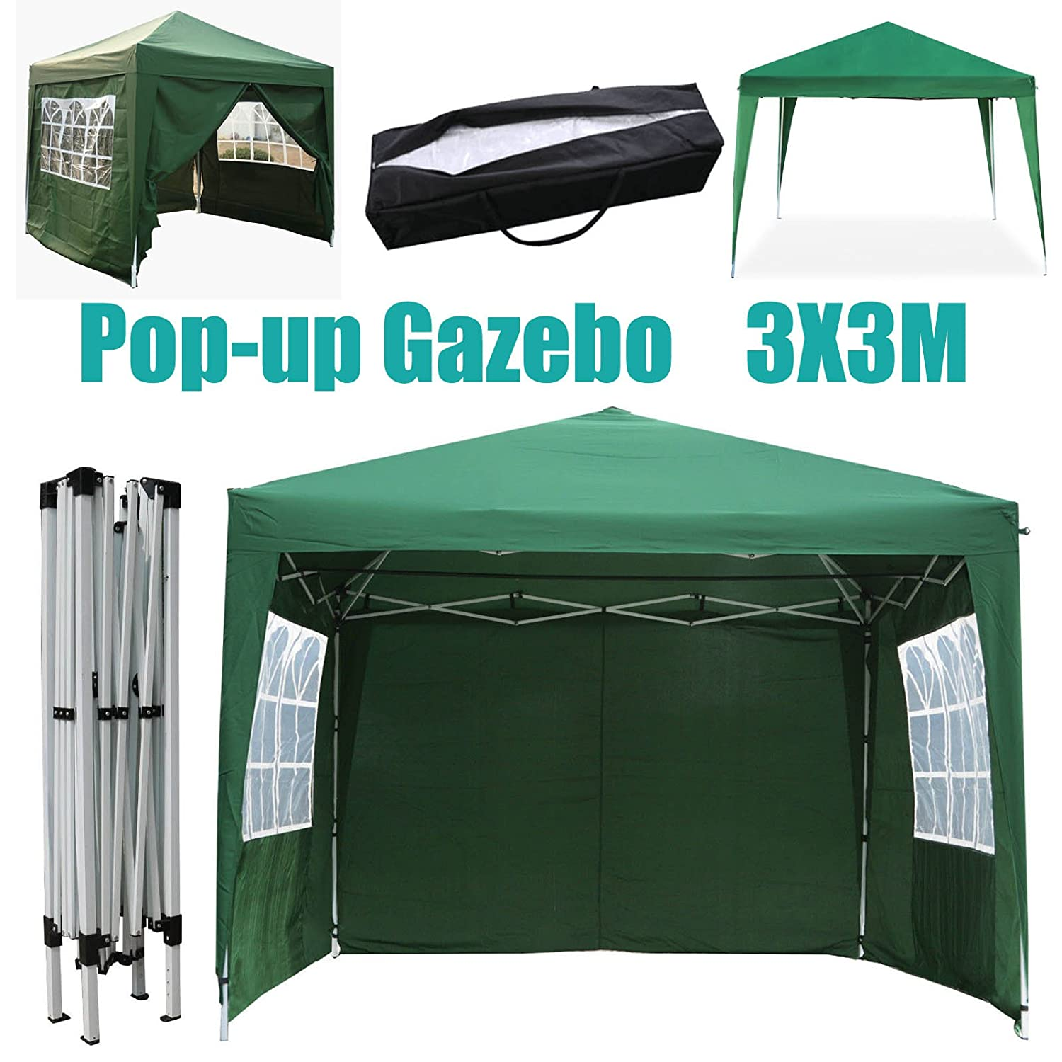 Waterproof 3x3m PE Gazebo Marquee Garden Awning Party Festival BBQ Tent Canopy