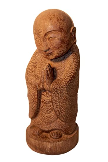 Japanese Smiling Jizo Stone Garden Statue From Volcanic Ash   This Asian  Sculpture Of A Serene