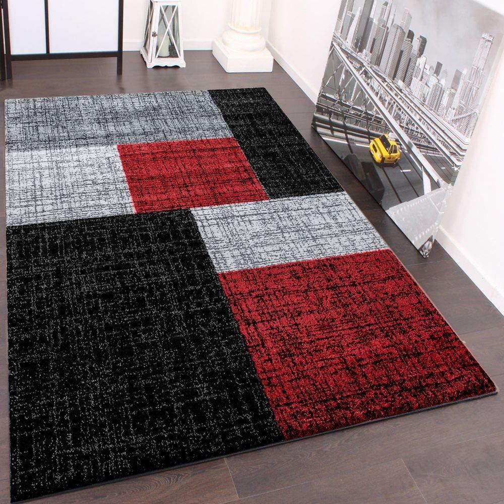 PHC Designer Teppich Muster Karo Creme Rot Braun Meliert, Grösse ...