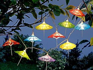 Led Lichterkette Girlande Mit Schirmchen Bunt 10 Led S 2 5 M Lang