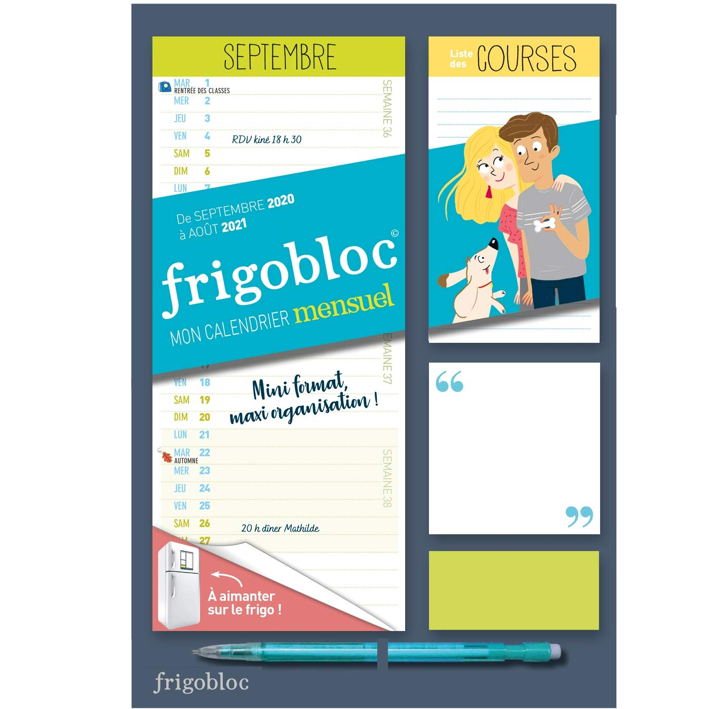 Calendrier Frigobloc 2021 Mini Frigobloc mensuel 2021   Calendrier d'orga. familiale / 12
